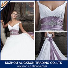Modern Off Shoulder Ball Gown Crystal Diamond Purple And White Wedding Dresses