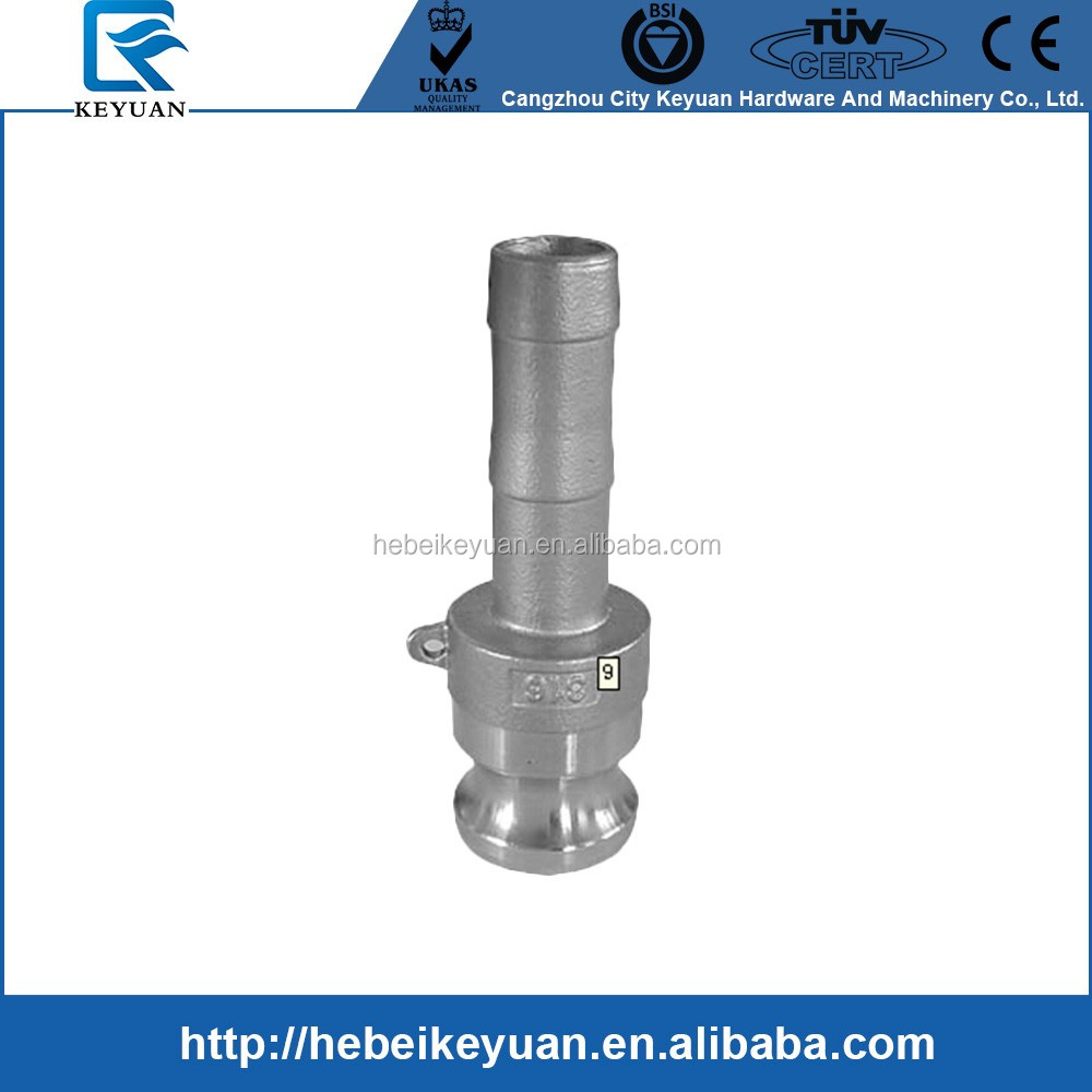 "304 Stainless Steel Cam-and-Groove Pipe Fitting E Adapter 1/2"" Cam Lock Plug x 1/2"" Hose Barb SUS304"