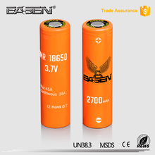 Basen 18650 2700mah 45A 3.7v rechargeable battery 3.7v for vape mechanical mod and box