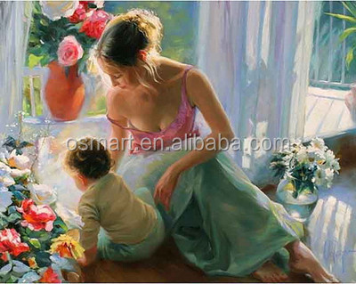 Modern woman portrait painting nude photo women girl and kid sex family naturalism photo picture oil paintings of modern art