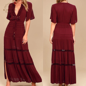 Fashion Short Sleeves Deep Plunging Women Red Long Maxi Dress