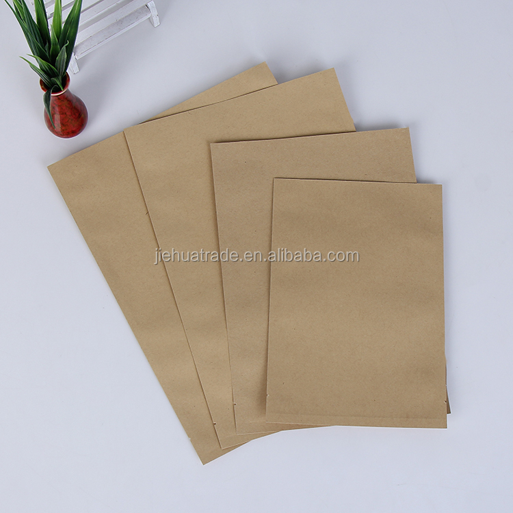 Hot Sale and Good Quality Heat Seal Kraft Paper Packaging Flat Food Snack Bags