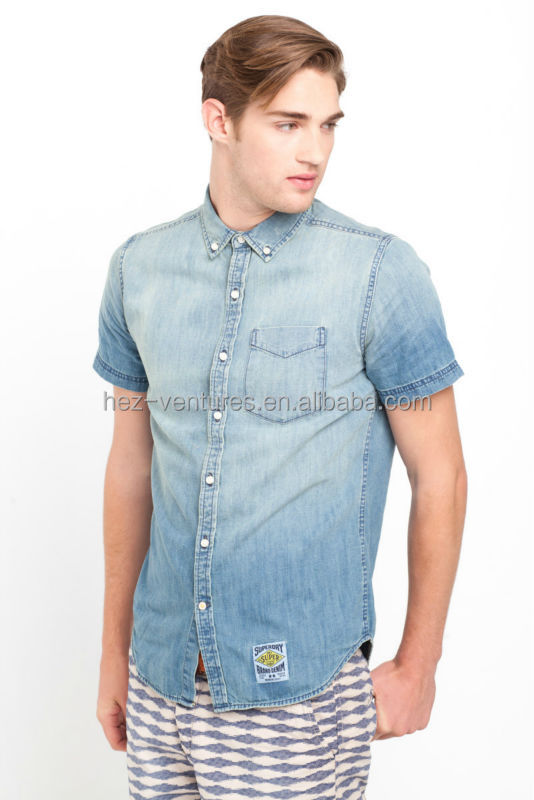 Mens Denim Shirts With Short Sleeve 100 Cotton Denim