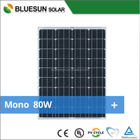 Bluesun high efficient 18v pv photovoltaic panel mono silicon solar module 80w