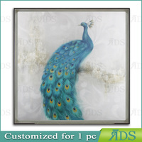 Peacock wall oil painting on canvas for home decoration