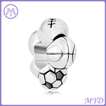 Big Hole Metal Spacer Charm Bracelet Sports Football soccer basketball rugby European Bead