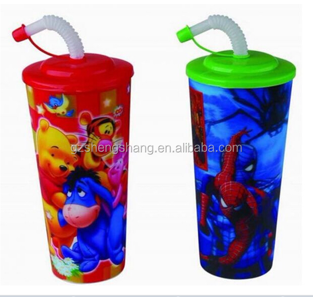 plasic drinking juice 3D cup with straw