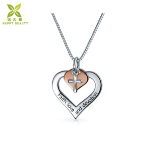 Heart cross rose gold plated 925 silver pendant necklace jewelry