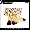 Wholesale Brushes Make Up 9pcs Synthetic Hair Plaid Makeup Brush Set With Case