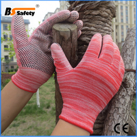 BSSAFETY Palm pvc dotted garden working gloves with pu coating
