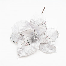 White color Christmas decoration poinsettias stem with berry