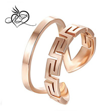Mens Womens 10MM Opening Great Wall Stainless Steel Rose Gold Ring Love Promise Wedding Band