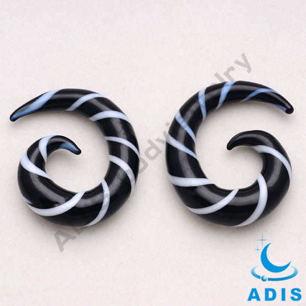 Charming body jewelry wholesale quality fashion glass spiral piercing