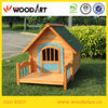 Yellow Craft Wooden dog kennel with veranda