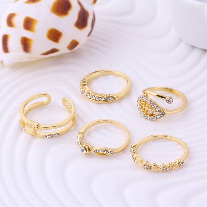 latest gold ring designs leaves zircon gold ring set wholesale