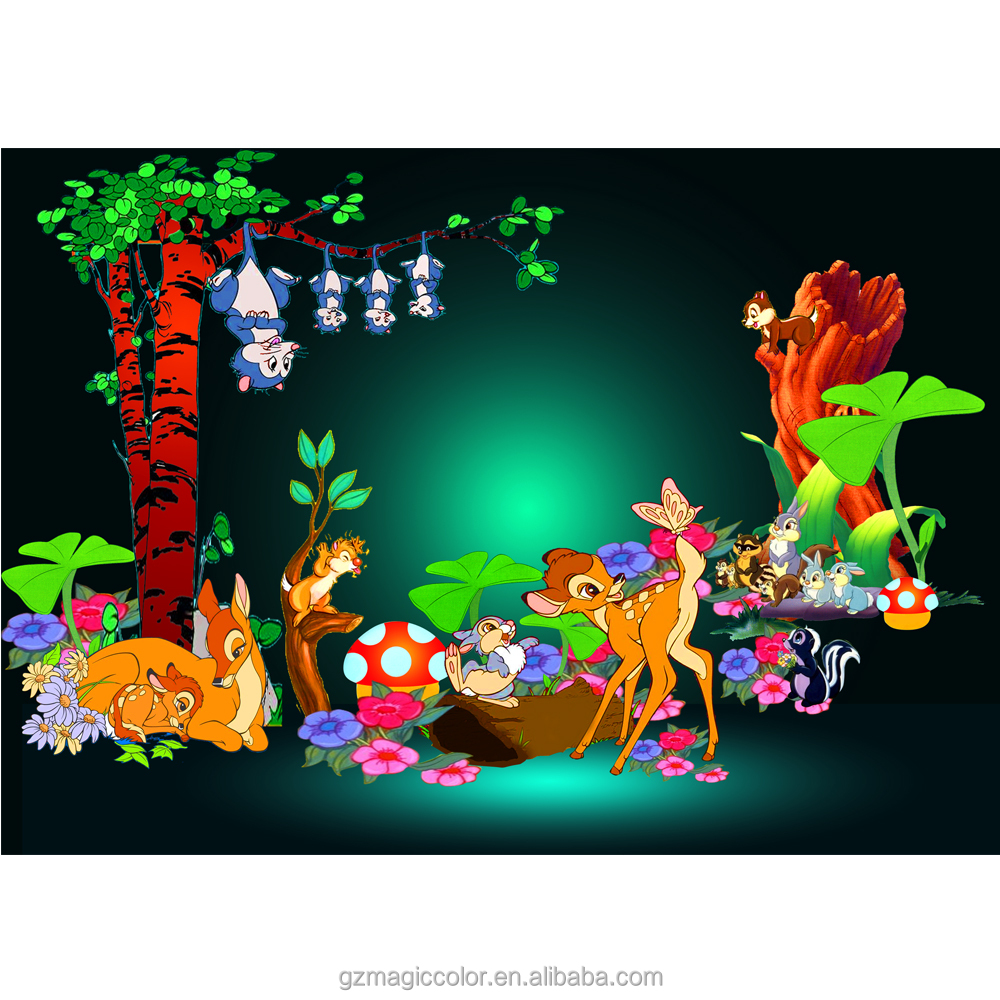 kid wallpaper Bambi image design wallpaper fuuny cartoon animated deer wallpaper for kid room