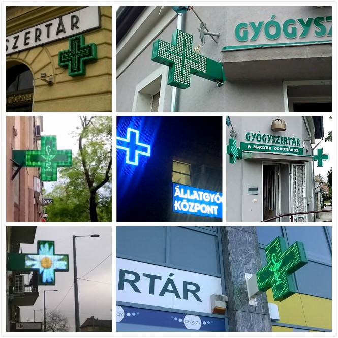 Outdoor Waterproof Pharmacy LED Pharmacy Cross Display