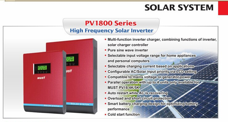 PV1800series Pure Sine Wave Solar Power Inverter and controler charger