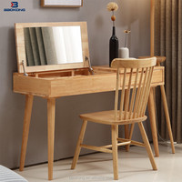 Modern New Design Dressing Table With Mirror Oak Wood Bedroom Furniture