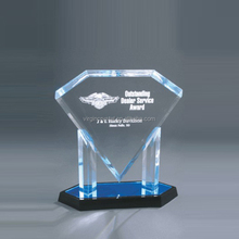 Unique 3d laser engraved crystal trophy plaque diamond block souvenir