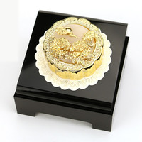 Pure gold Dipped Mooncake Statue with rich and honored, being in full flower Chinese blessing hua kai fu gui