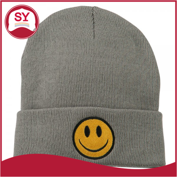 Customize Smiley Face Embroidered Long Knit Beanie