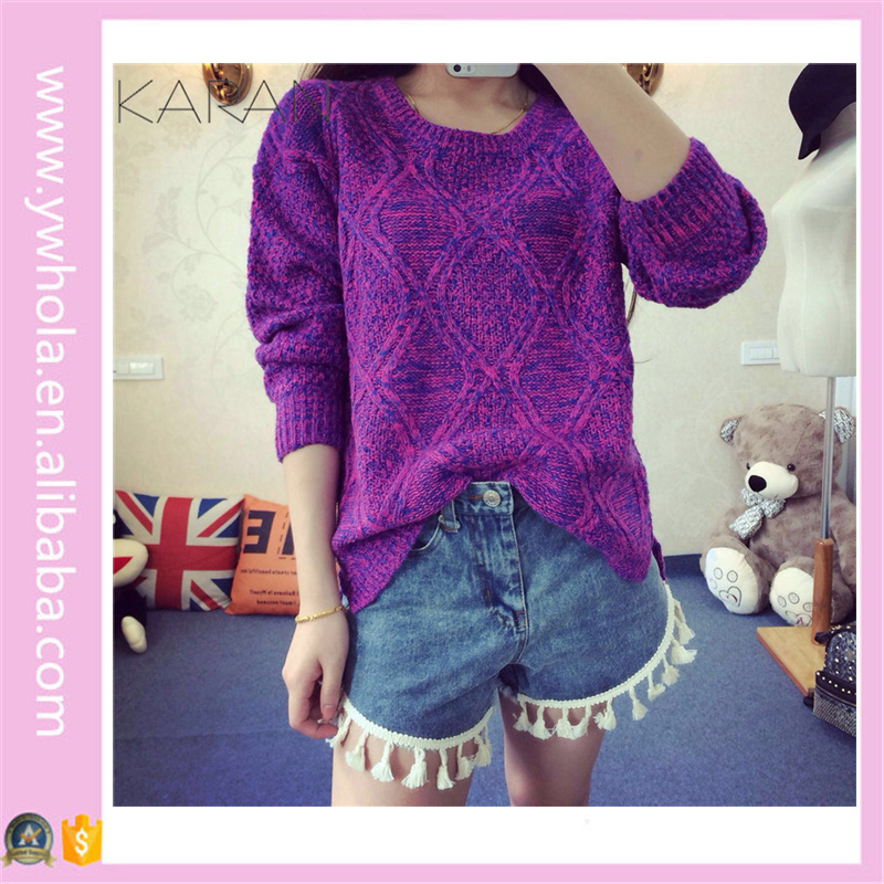 Long Sleeve Loose Handmade Knit Wool Knit Pullover Sweater Designs for Girls