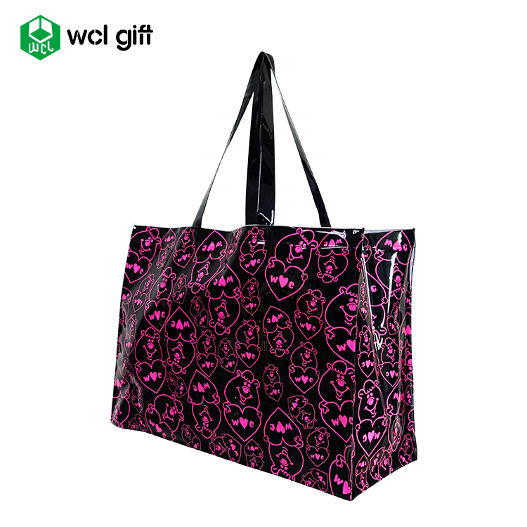 Factory hot sell women beach clear PVC tote bag recycling grocery bag jelly tote bag shoulder handbag