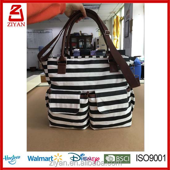 Canvas Baby Diaper Bag Messenger Changing Pad Shoulder Bag Organizer Handbag Tote Bag Fit Stroller , Black and white