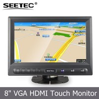 8 inch small vga led display touch panel hdmi video input car screen lcd monitor with bracket