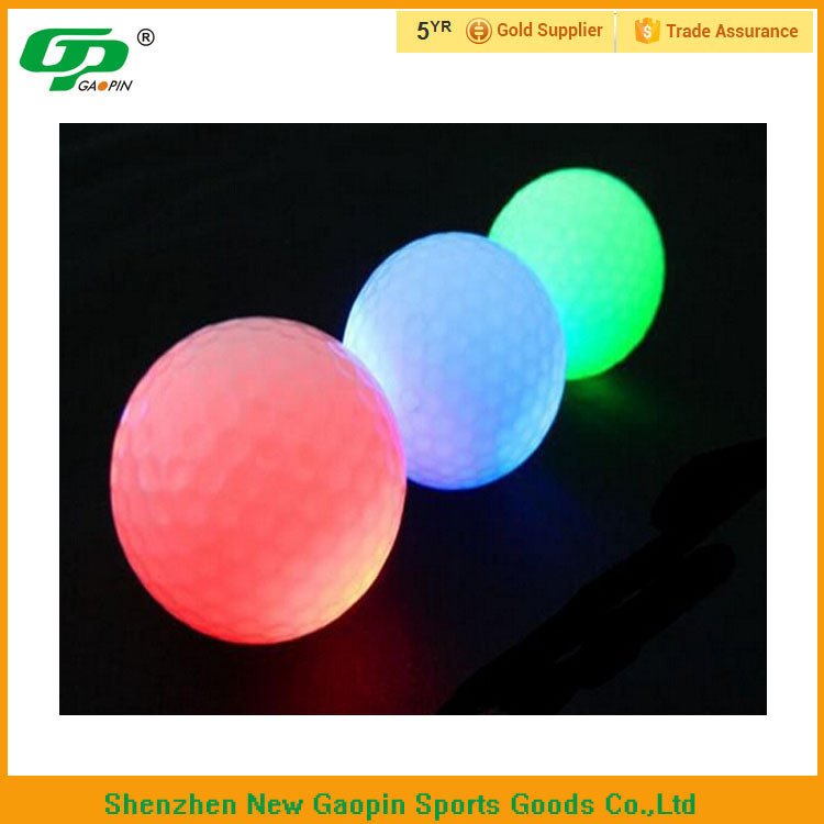 Hot selling glow two piece LED golf ball /multi colors flash night LED golf ball