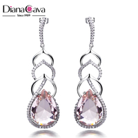 Cubic Zirconia Setting Stones Big Pink Crystal Elegant Water Drop Shape Party Earrings