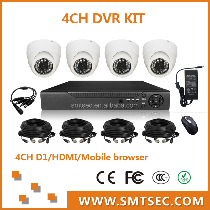 "SMTSEC DVR-KIT204/30 1/4""CMOS 700TVL 8510 DSP and 30m Cables H.264 Network Stand Alone 4CH D1 H.264 DVR KIT"
