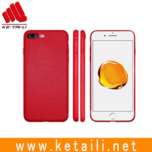 For iPhone 7 Plus leather like surface soft product red color custom design TPU mobile phone cellphone case cover with samples