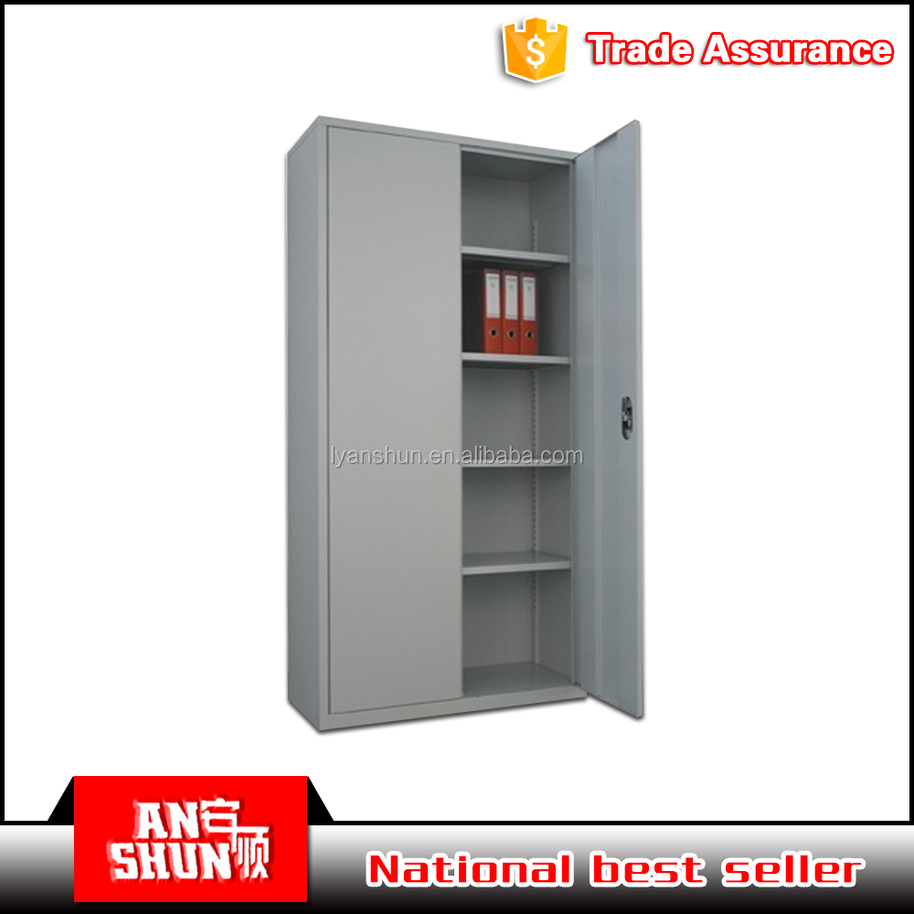 Tall two doors assembled metal collapsible filing cabinet office furniture used metal cupboard sale