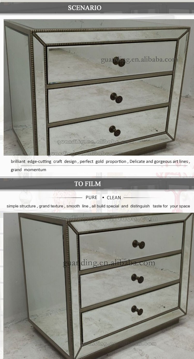 antique beside table silver mirrored chest of drawers with 3 drawers