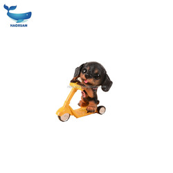 QDGY0142 HAOXUAN Resin Flocked Animal Shaped Glasses Dog Statue Craft for Gift