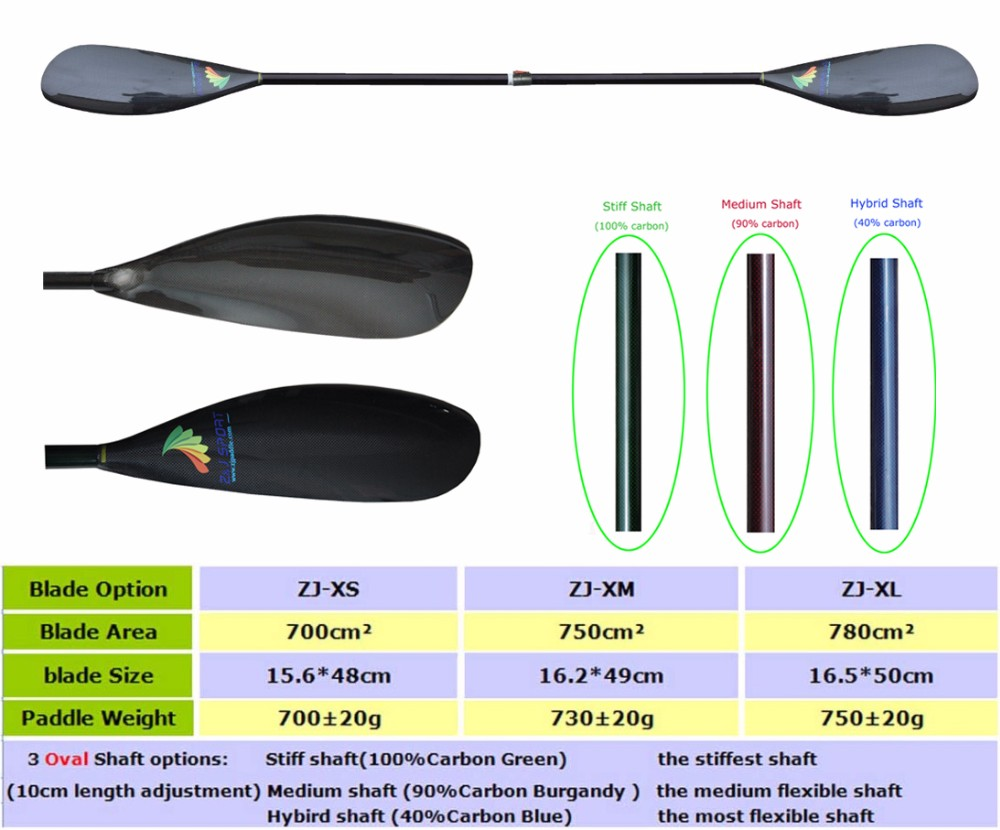 High performance Carbon Fiber kayak paddle With Oval Shaft In 10cm length Adjustent