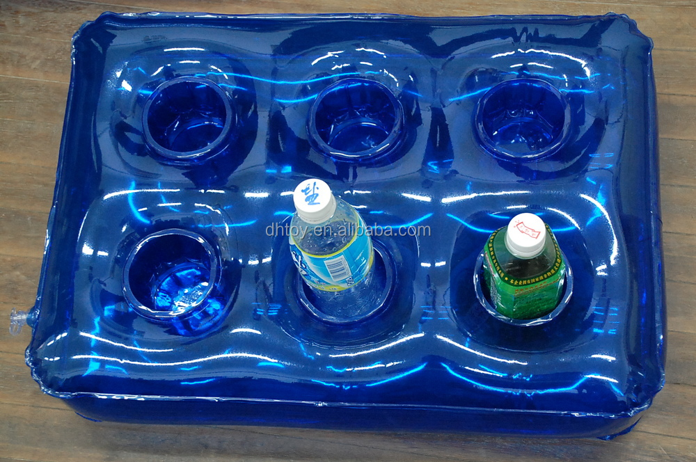 inflatable pool floating drink cooler tray with cup holder