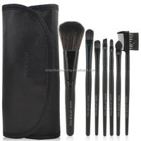 Wholesale Professional Wooden Makeup Brushes 7 pcs Make Up Brush With PU Pocket Bag