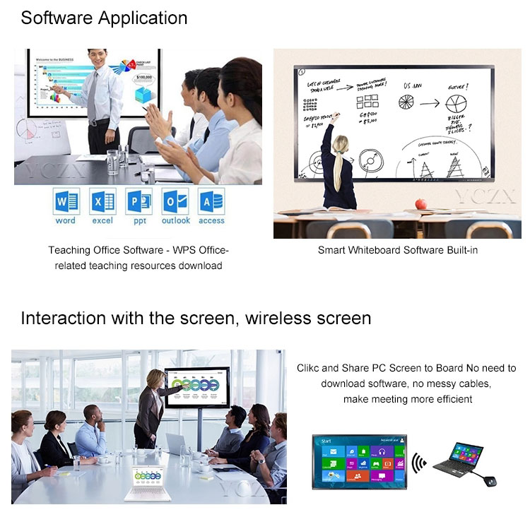 Mobile 90 inch digital IR touch screen smart projector teaching interactive whiteboard for meeting room