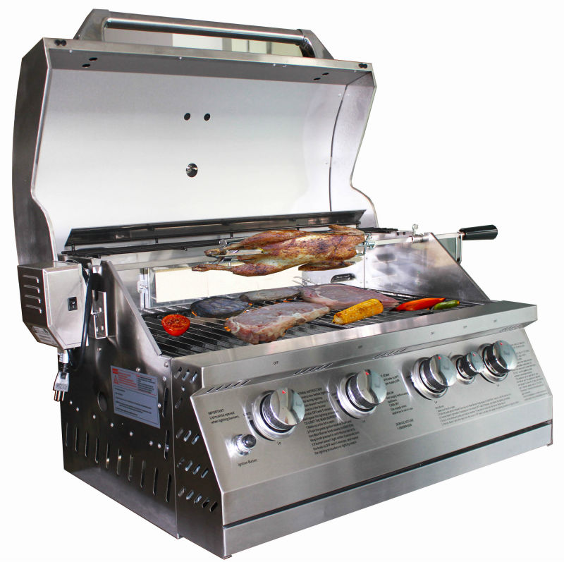 stainless steel 4 burners build-in gas bbq grill with high quality