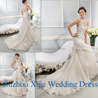High Neckline Sleeveless Sexy Sheath Wedding Dress Manufactured In China --- HK-008