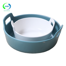 free samples bottom anti skid ceramic ruit Nuts Plate Dessert Dish with humanized handle design