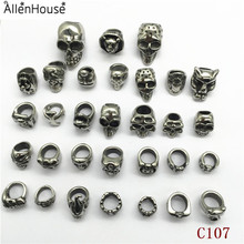 factory price Latest Design Customized Casting huge hole 8mm Bracelet Slider Charms Metal Skull Beads for punk style jewellery
