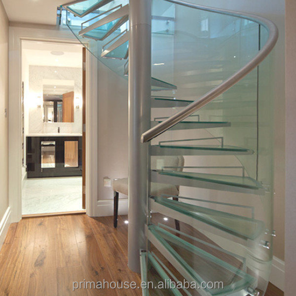American Standard tempered glass Spiral staircase/stairs and stainless steel post/beam