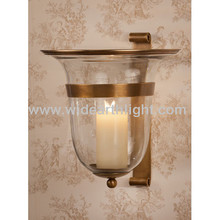UL CUL Listed Antique Brass Decorative Hotel Corridor Sconce Candle Holder With Flower Glass Shape W80219