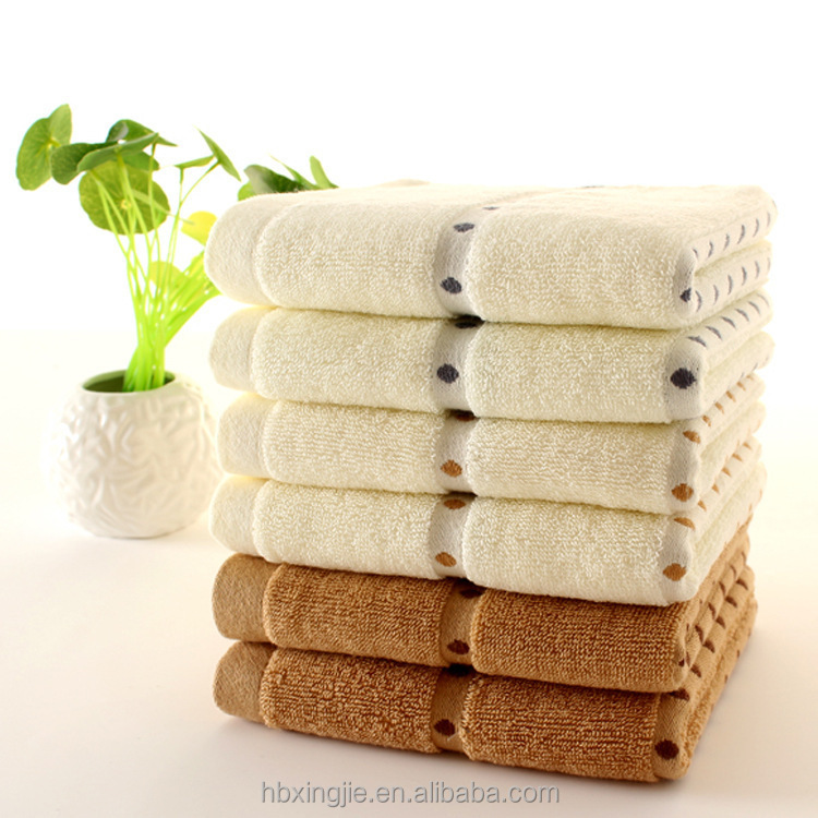 100% cotton plain face towel dot soft terry towel with dobby border