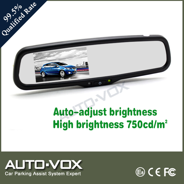 Car rearview mirror monitor with auto adjust brightness