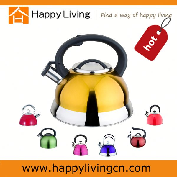 Yellow color stainless steel induction whistle tea kettle